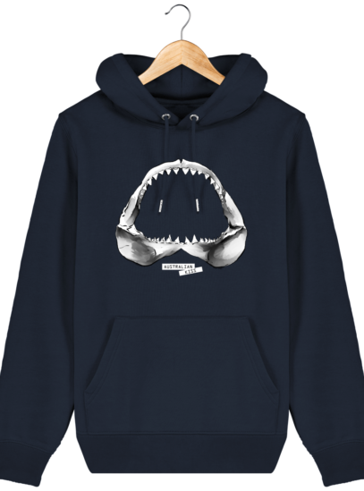 Sweat à capuche Unisexe Requin - French Navy - Face