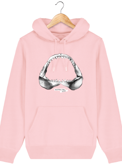 Sweat à capuche Unisexe Requin - Cotton Pink - Face