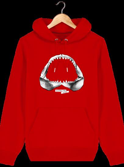 Sweat à capuche Unisexe Requin - Bright Red - Face