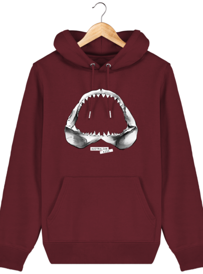 Sweat à capuche Unisexe Requin - Burgundy - Face