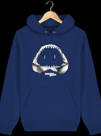 Sweat à capuche Unisexe Requin - Majorelle Blue - Face