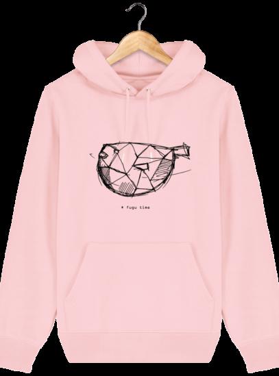 Sweat à capuche Unisexe Fugu time - Cotton Pink - Face