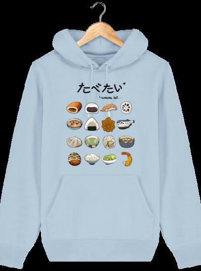 Sweat à capuche Unisexe Gastronomie Japonaise - Sky blue - Face