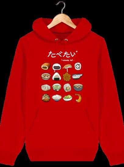 Sweat à capuche Unisexe Gastronomie Japonaise - Bright Red - Face