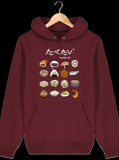 Sweat à capuche Unisexe Gastronomie Japonaise - Burgundy - Face