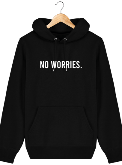 Sweat à capuche Unisexe No Worries - Black - Face