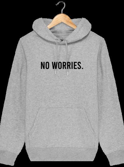 Sweat à capuche Unisexe No Worries - Heather Grey - Face