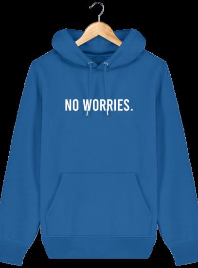 Sweat à capuche Unisexe No Worries - Royal Blue - Face
