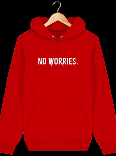 Sweat à capuche Unisexe No Worries - Bright Red - Face