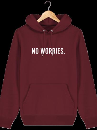 Sweat à capuche Unisexe No Worries - Burgundy - Face
