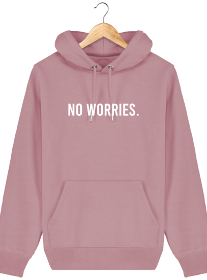 Sweat à capuche Unisexe No Worries - Canyon Pink - Face