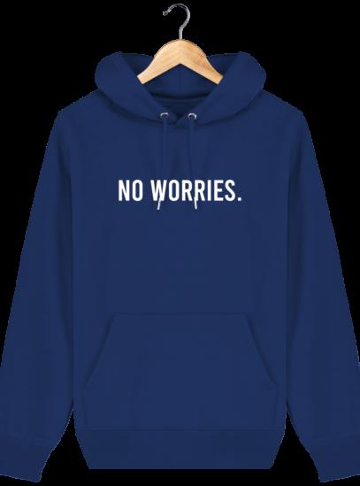 Sweat à capuche Unisexe No Worries - Majorelle Blue - Face