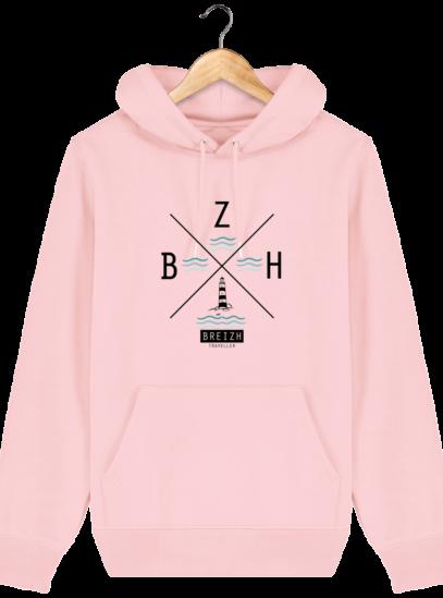 Sweat à capuche Unisexe Phare BZH - Cotton Pink - Face