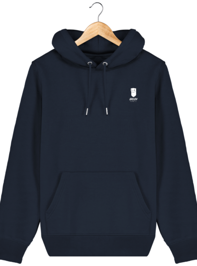 Sweat à capuche Unisexe Logo Hermine - French Navy - Face