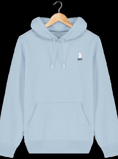 Sweat à capuche Unisexe Logo Hermine - Sky blue - Face