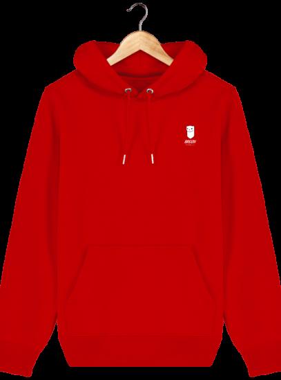 Sweat à capuche Unisexe Logo Hermine - Bright Red - Face