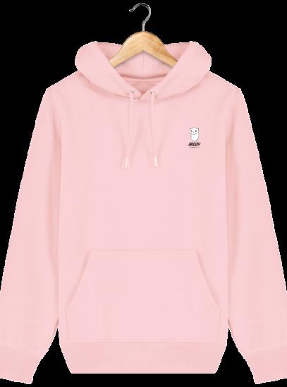 Sweat à capuche Unisexe Logo Hermine - Cotton Pink - Face