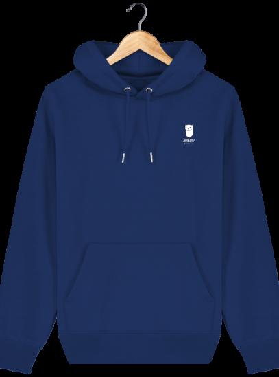 Sweat à capuche Unisexe Logo Hermine - Majorelle Blue - Face
