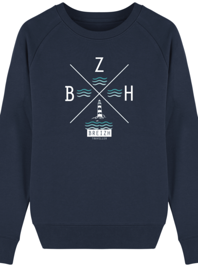 Sweat Femme éthique Phare BZH - French Navy - Face
