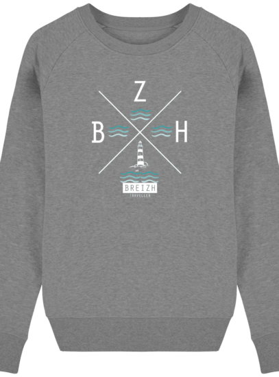 Sweat Femme éthique Phare BZH - Mid Heather Grey - Face
