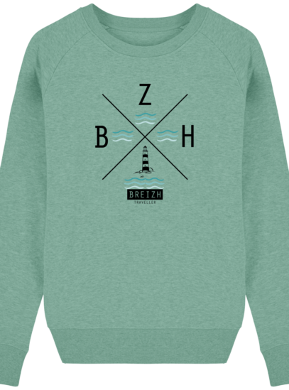 Sweat Femme éthique Phare BZH - Mid Heather Green - Face