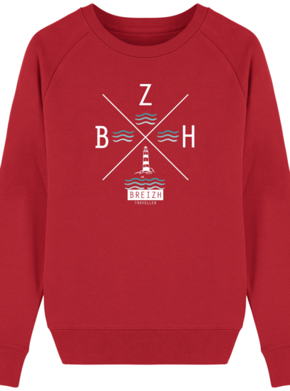Sweat Femme éthique Phare BZH - Red - Face