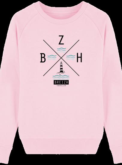 Sweat Femme éthique Phare BZH - Cotton Pink - Face