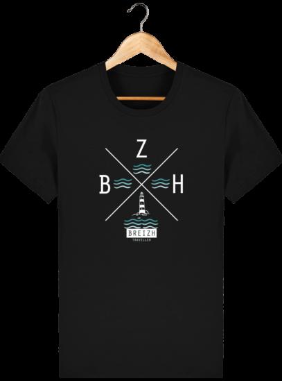 T-Shirt Homme Breton Phare BZH - Black - Face