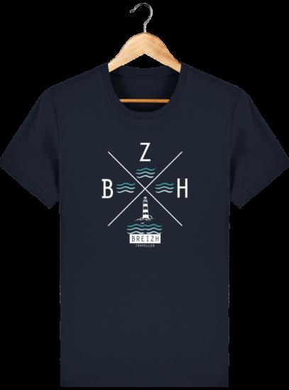 T-Shirt Homme Breton Phare BZH - French Navy - Face