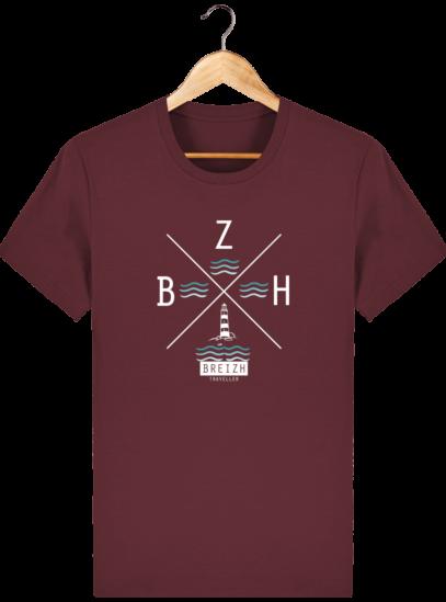 T-Shirt Homme Breton Phare BZH - Burgundy - Face