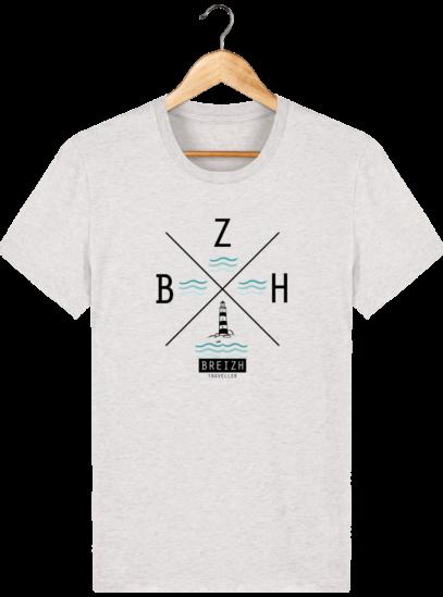 T-Shirt Homme Breton Phare BZH - Cream Heather Grey - Face