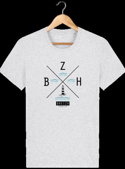 T-Shirt Homme Breton Phare BZH - Heather Ash - Face