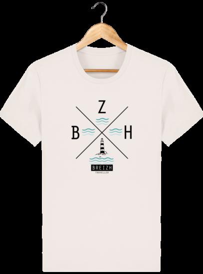 T-Shirt Homme Breton Phare BZH - Vintage White - Face