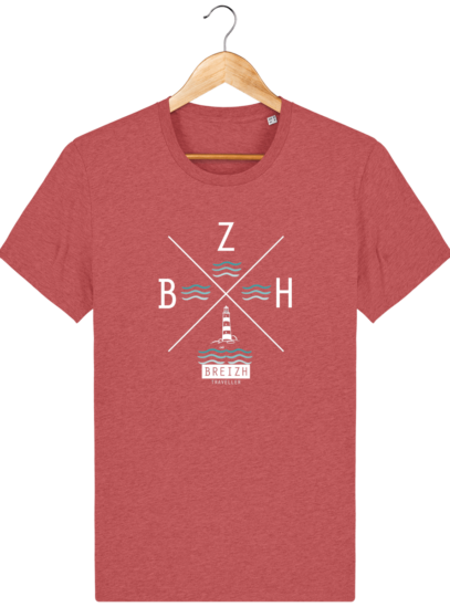 T-Shirt Homme Breton Phare BZH - Mid Heather Red - Face
