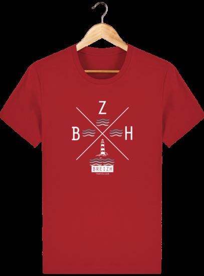 T-Shirt Homme Breton Phare BZH - Red - Face