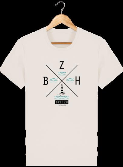T-Shirt Homme Breton Phare BZH - Off White - Face