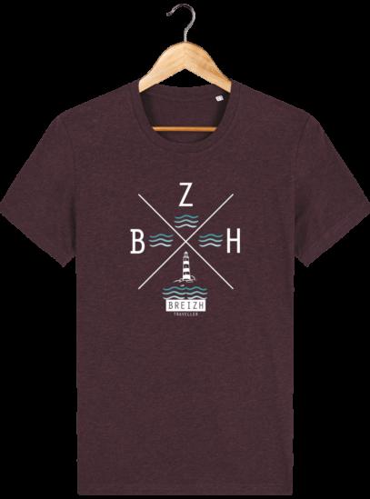 T-Shirt Homme Breton Phare BZH - Heather Grape Red - Face