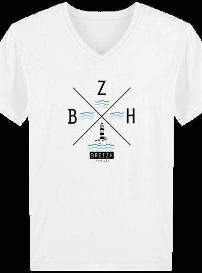 T-Shirt Homme V Breton Phare BZH - White - Face