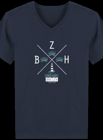 T-Shirt Homme V Breton Phare BZH - French Navy - Face