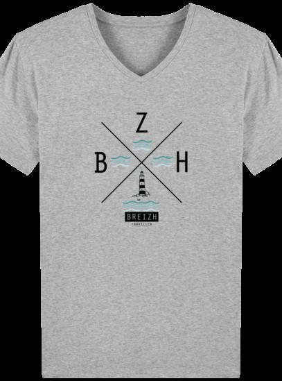 T-Shirt Homme V Breton Phare BZH - Heather Grey - Face