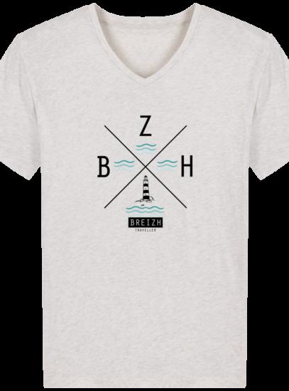 T-Shirt Homme V Breton Phare BZH - Cream Heather Grey - Face