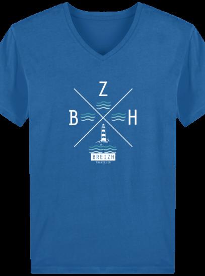 T-Shirt Homme V Breton Phare BZH - Royal Blue - Face