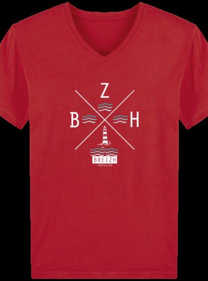 T-Shirt Homme V Breton Phare BZH - Red - Face