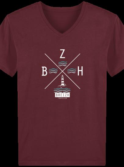 T-Shirt Homme V Breton Phare BZH - Burgundy - Face