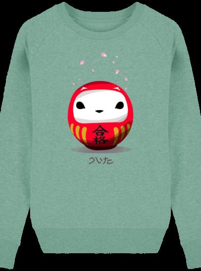 Sweat Femme éthique Cerisier Japonais - Mid Heather Green - Face