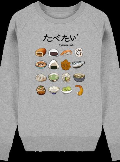 Sweat Femme éthique Gastronomie Japonaise - Heather Grey - Face