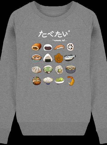 Sweat Femme éthique Gastronomie Japonaise - Mid Heather Grey - Face