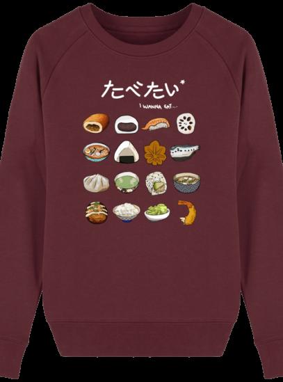 Sweat Femme éthique Gastronomie Japonaise - Burgundy - Face