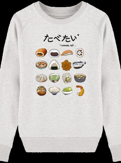 Sweat Femme éthique Gastronomie Japonaise - Cream Heather Grey - Face