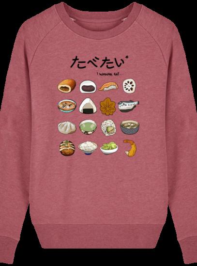 Sweat Femme éthique Gastronomie Japonaise - Heather Cranberry - Face